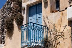 Blaue Tür auf Santorini