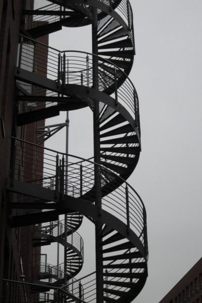 Wendeltreppe in der Speicherstadt in Hamburg